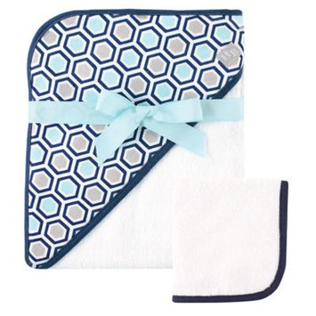 Hudson Baby Print Woven Hooded Towel and Washcloth, Honeycomb