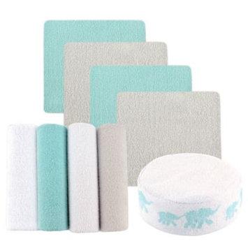 Luvable Friends Washcloths, 8pk, Bonus Sponge, Elephant