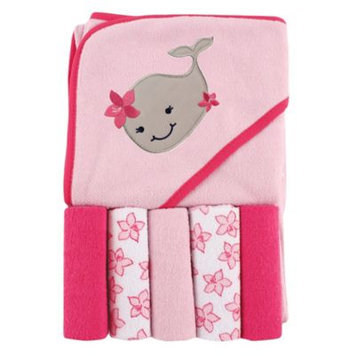 Luvable Friends Hooded Towel and 5 Washcloths, Girly Whale