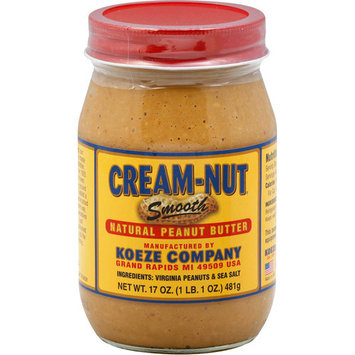 Koeze Cream-Nut Smooth Natural Peanut Butter, 17 oz, (Pack of 12)