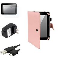 Insten INSTEN Pink Leather Case+Anti-Glare Guard+USB Data+Mains Charger For Kindle Fire HD 8.9