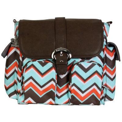 Kalencom - Double Duty Diaper Bag (Women's) - Chevron Stripes Coral