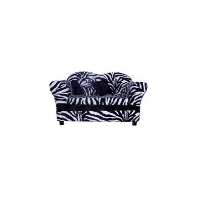 Fantasy Furniture Homey Sofa in Zebra Stripe, Medium, Color: White