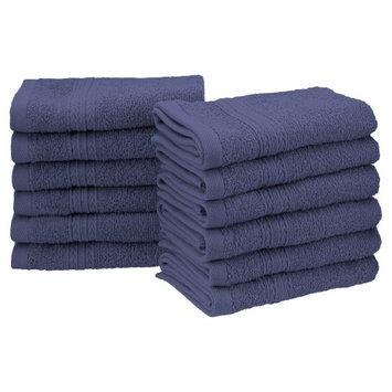 Blue Nile Mills Eco Friendly 12-Piece 100% Ring-Spun Cotton Washcloth Face Towel Set, Navy Blue