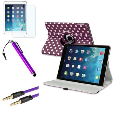 Insten INSTEN Purple/White Polka Dot 360 Leather Case Cover+Pen+Cable For Apple iPad Air 5 5th