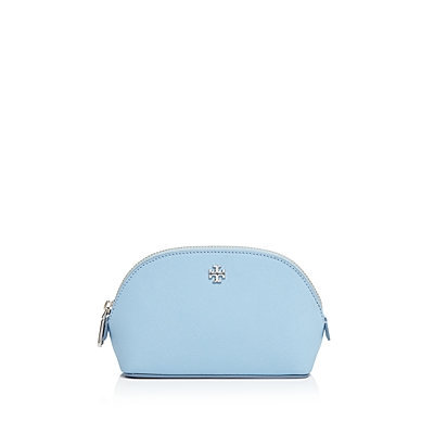 Tory Burch York Small Leather Makeup Bag, Fairview Blue