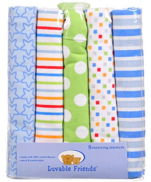 Luvable Friends Star Plus 5-Pack Receiving Blankets