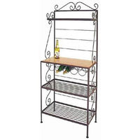 Grace Connoisseur Bakers Rack with 5-Bottle Wine Rack