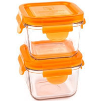Wean Green 2-Pack Snack Cubes Glass Food Containers, Carrot