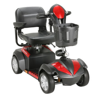 Drive Medical Ventura 4 Wheel Scooter with Folding Seat, Red & Blue, 18 inch Seat, 1 ea