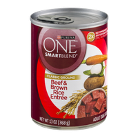 Purina One SmartBlend Adult Dog Food Classic Ground Beef & Brown Rice Entree