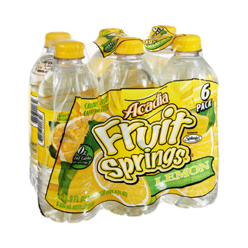 Acadia Fruit Springs Lemon Naturally Flavored Spring Water Beverage - 6 PK