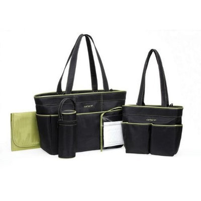 Carter's Diaper Bag Set - Black/Sage