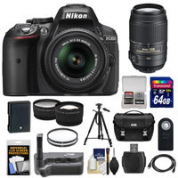 Nikon D5300 Digital SLR Camera & 18-55mm G VR DX II Lens (Black) with 55-300mm VR Lens + 64GB Card + Battery + Case + Grip + Tele/Wide Lens Kit