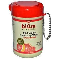 Blum Naturals All Purpose Cleansing Wipes Mini Canister Citrus Scent - 30 Wipes