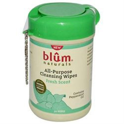 Blum Naturals All Purpose Cleansing Wipes Mini Canister Fresh Scent - 30 Wipes
