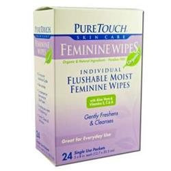 Pure Touch Skin Care - Individual Flushable Moist Feminine Wipes Organic - 24 Packets