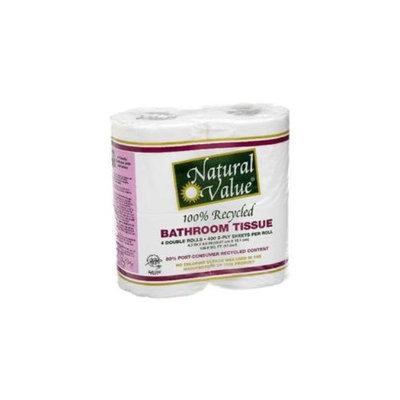 Natural Value BG16227 Natural Value 400Ct-Roll Bth Tissue - 12x4Pack