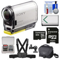 Sony Action Cam HDR-AS100V Wi-Fi GPS HD Video Camera Camcorder with 32GB Card + Battery + Chest Mount + Case + Accessory Kit