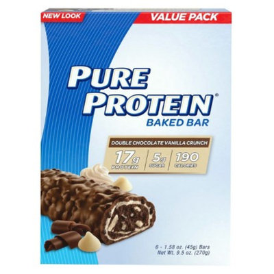Pure Protein Double Chocolate Vanilla Crunch Baked Bar - 6 Count (1.