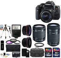 Canon EOS Rebel T6i 24.2MP DSLR Camera with 18-55mm + 55-250mm IS STM Lens + 24GB Accessories Bundle