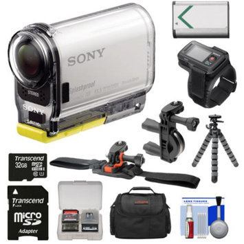 Sony Action Cam HDR-AS100VR Wi-Fi GPS HD Video Camera Camcorder & Live View Remote with 32GB Card + Battery + Handlebar & Vented Helmet Mount + Case + Tripod + Kit