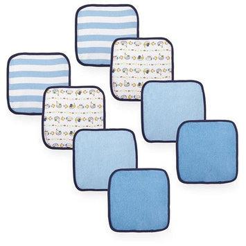 Koala Baby Boys Washcloths 8 Pack - Blue Solid/Print