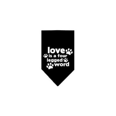 Ahi Love is a Four Leg Word Screen Print Bandana Black Large