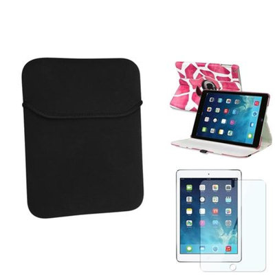 Insten INSTEN Pink Giraffe 360 Leather Case Cover+Protector+Soft Pouch For Apple iPad Air 5 5th Gen