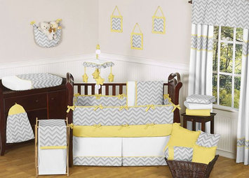 Sweet Jojo Designs Zig Zag Yellow and Gray Collection 9pc Crib Bedding Set
