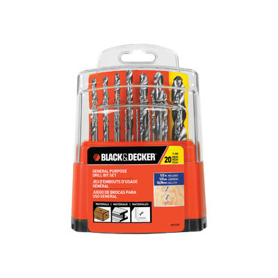 BLACK & DECKER 20-Pack High-Speed Steel Twist Drill Bit Set 71-002