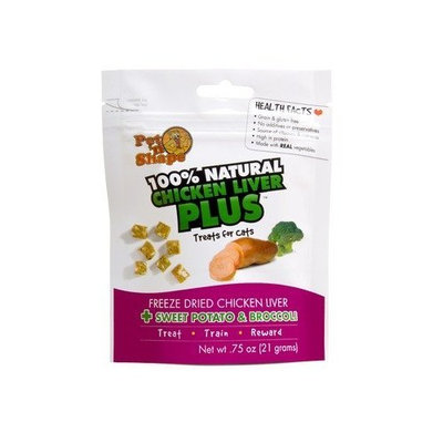 Pet N' Shape Freeze Dried Chicken Liver Plus Sweet Potato and Broccoli Cat Treats - 0.75 oz. Set of 48