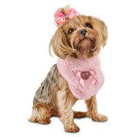 Petco Smoochie Pooch Pink Faux Fur Dog Scarf, Medium/Large