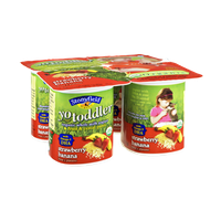 Stonyfield Organic YoToddler Strawberry Banana Fruit & Cereal Puree On The Bottom Whole Milk Yogurt - 4 PK
