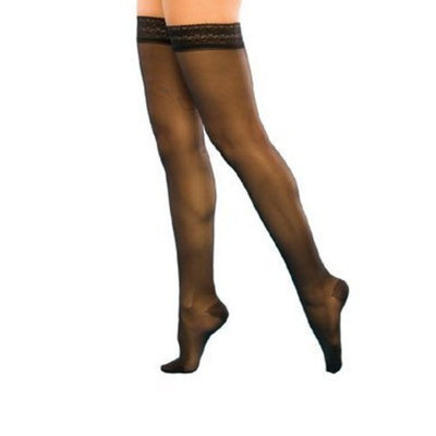 Sigvaris Women's Sheer Fashion 15-20 mmHg Closed Toe Thigh High Sock Size: B, Color: Charcoal 12