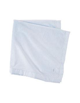 Plush Grosgrain-Edge Baby Blanket, Blue - Ralph Lauren Childrenswear - Blue (ONE SIZE)