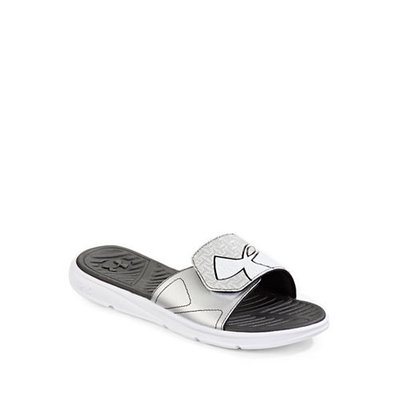 Under Armour ClutchFit Force Slide Sandals-WHITE/BLACK-11