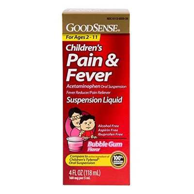 Good Sense GoodSense Acetaminophen Children's Pain Reliever Oral Suspension Liquid, Bubble Gum Flavor, 160 mg, 4 Fluid Ounce
