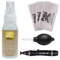 Nikon Lens Cleaner Fluid Spray Bottle (1oz/30ml) with Blower + Lenspen + 3 Cleaning Cloths for D3100, D3200, D5100, D5200, D600, D800, D4 Digital SLR Cameras
