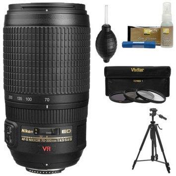 Nikon 70-300mm f/4.5-5.6 G VR AF-S ED-IF Zoom-Nikkor Lens with Tripod + 3 UV/ND8/CPL Filters + Cleaning Kit