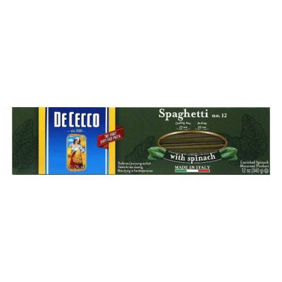 Dececco Spaghetti With Spinach 12-Ounce -Pack of 12