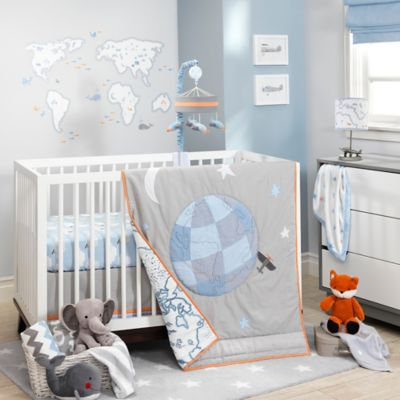 Lambs & Ivy 3-Piece Crib Bedding Set - Silver Cloud, Blue