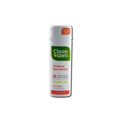 Clean Well All Natural Hand Sanitizer Spray, Orange Vanilla, 1 oz, CleanWell