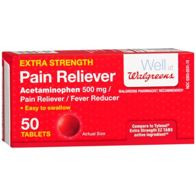 Walgreens Pain Reliever Extra Strength Easy Tablets, 50 ea