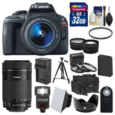 Canon EOS Rebel SL1 Digital SLR Camera & EF-S 18-55mm IS with 55-250mm IS STM Lens + 32GB Card + Case + Flash + Battery/Charger + Tripod + 2 Lens Kit