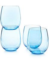 Martha Stewart Collection Set of 4 Stemless Blue Tritan Wine Glasses