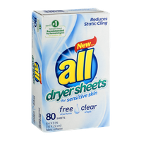 All Dryer Sheets for Sensitive Skin - 80 CT