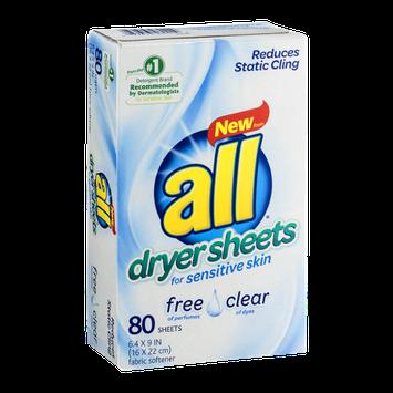 All Dryer Sheets for Sensitive Skin - 80 CT