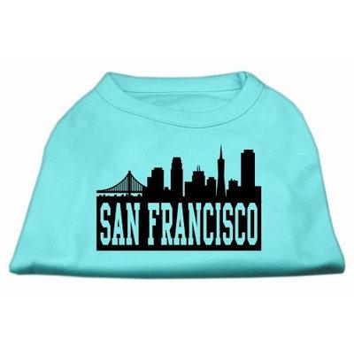 Mirage Pet Products 5172 XXLAQ San Francisco Skyline Screen Print Shirt Aqua XXL 18