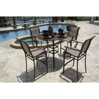 Panama Jack Chub Cay 5-Piece Sling Bar Height Patio Dining Furniture Set
